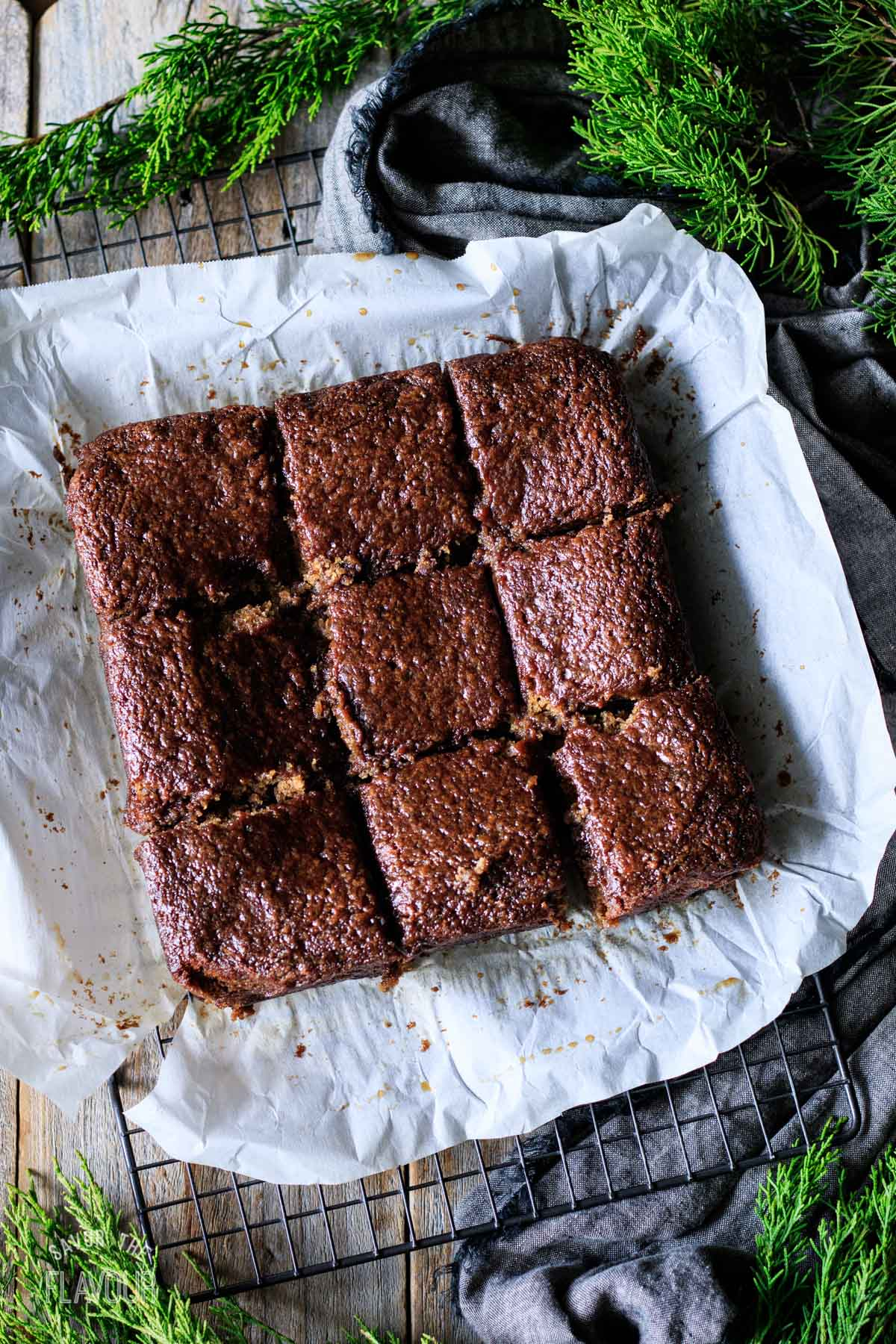 baked sticky toffee pudding cut into nine squares