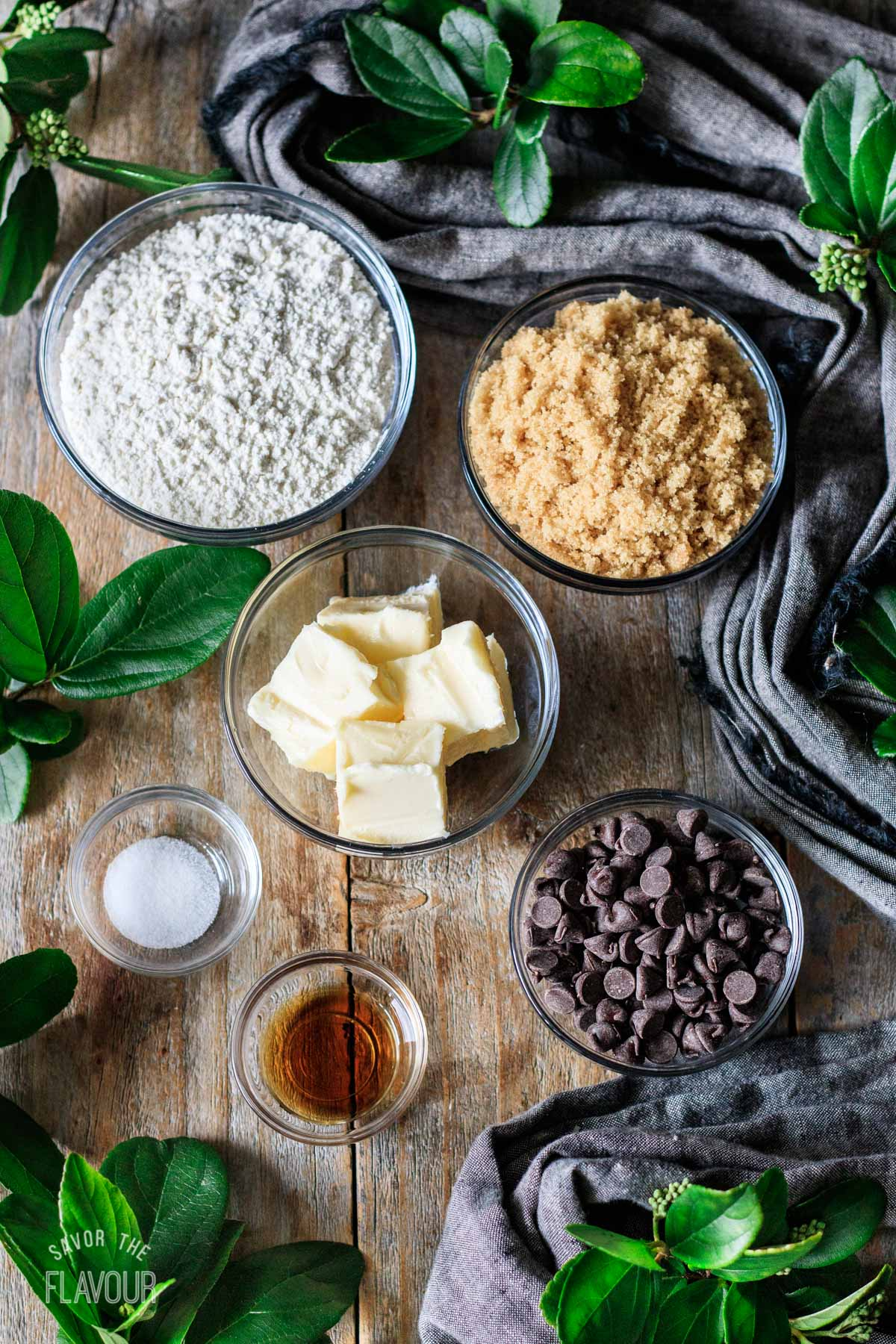 bowls of ingredients for no bake cookie dough bites