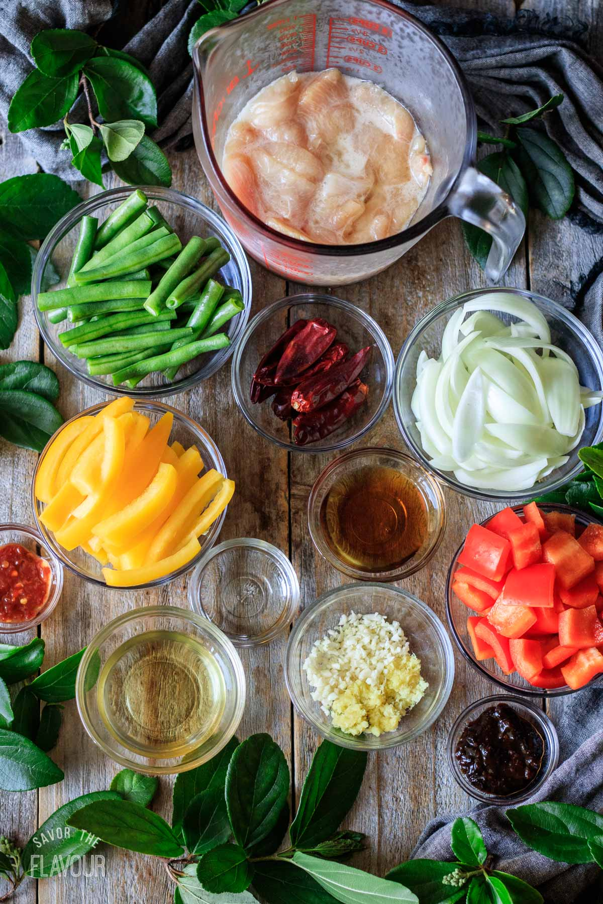 bowls of ingredients for Panda Express firecracker chicken