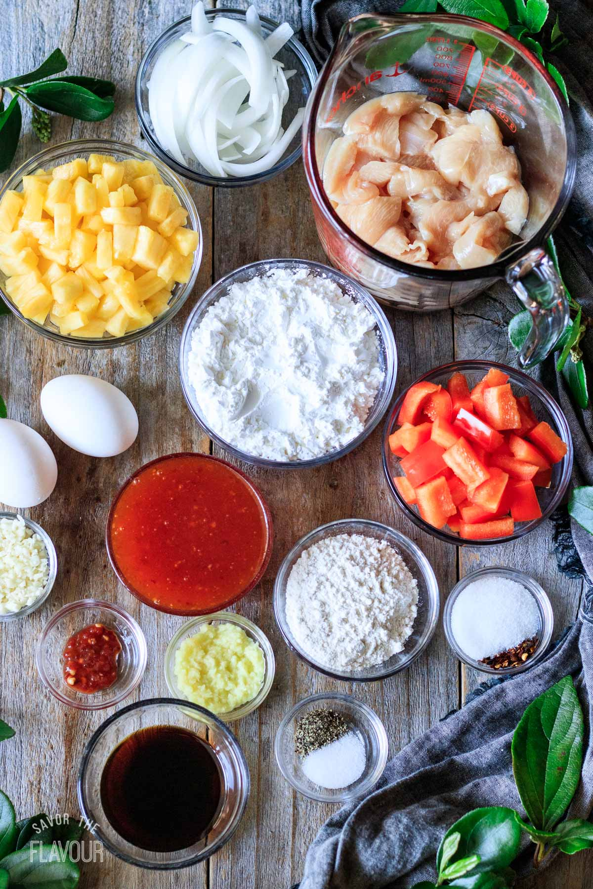 bowls of ingredients for sweet fire chicken