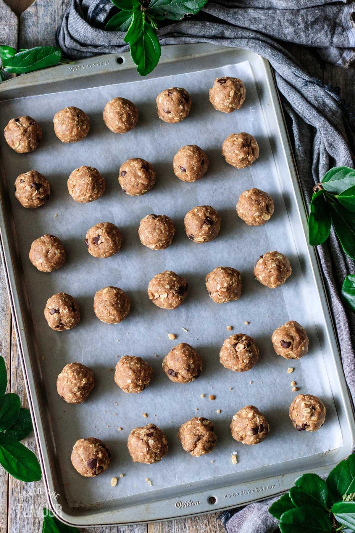 vegan protein balls on a cookie sheet