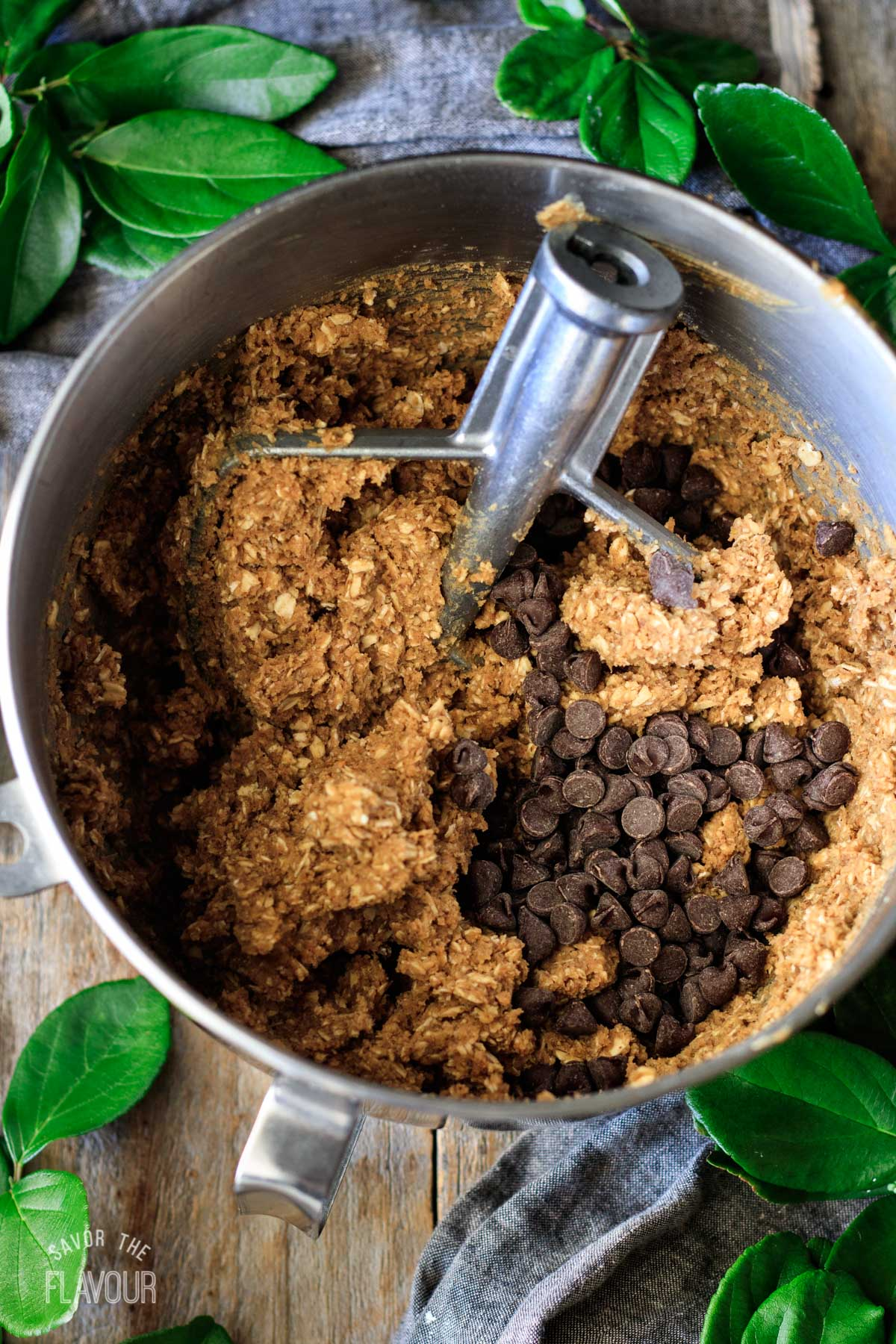 protein ball mixture in the stand mixer bowl