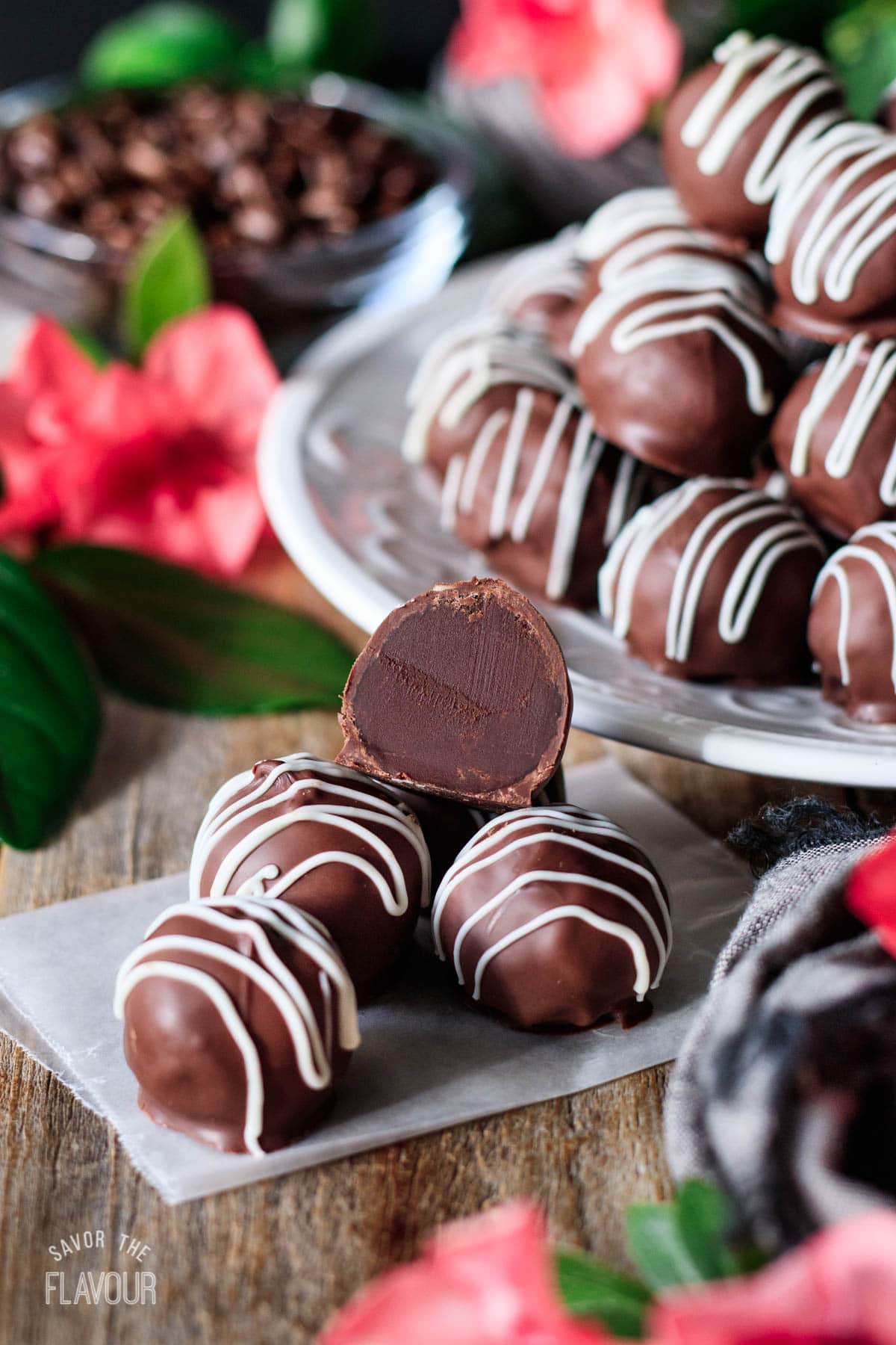 stack of coffee truffles on a piece of wax paper