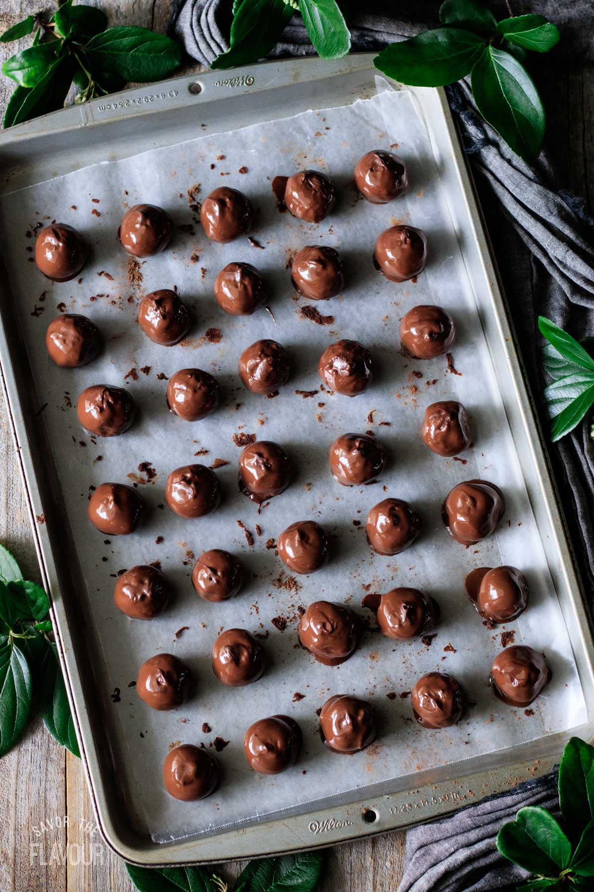 chocolate-dipped coffee truffles on a cookie sheet