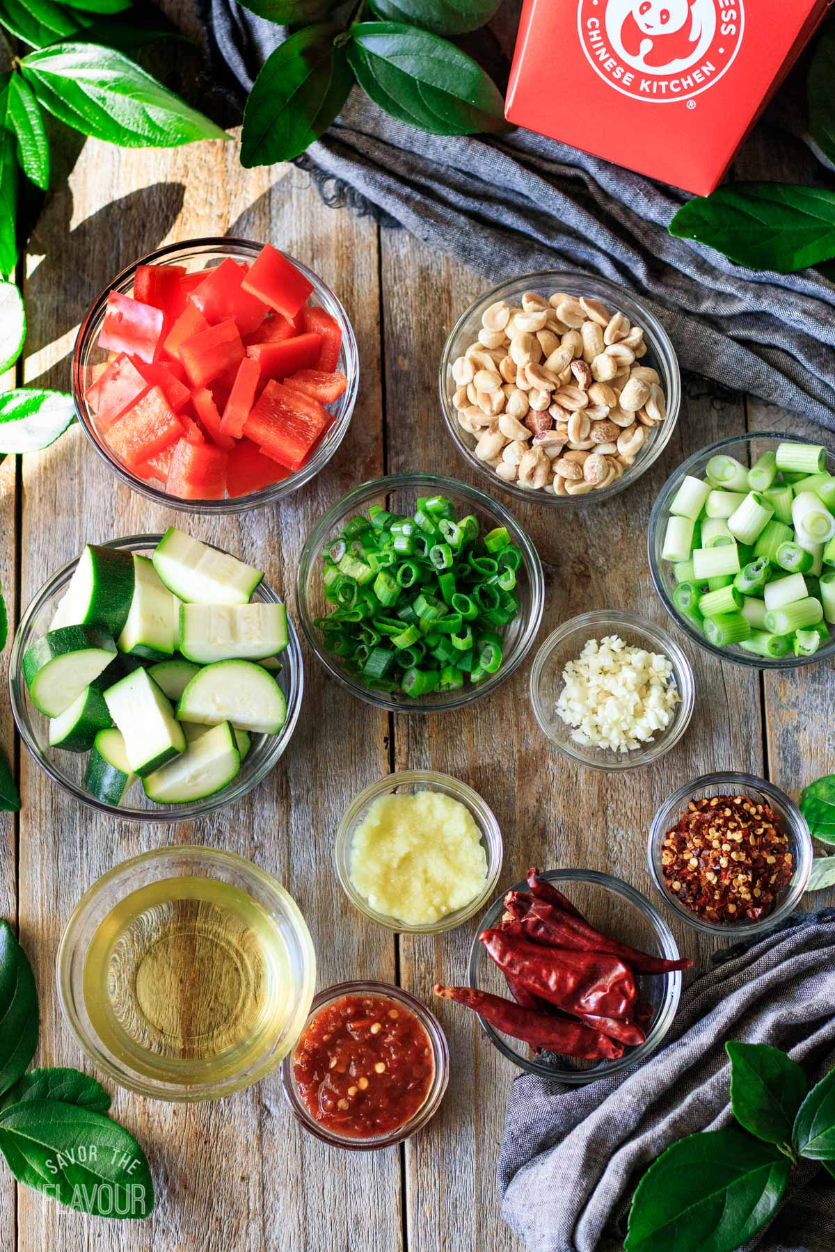 bowls of ingredients for Kung Pao chicken