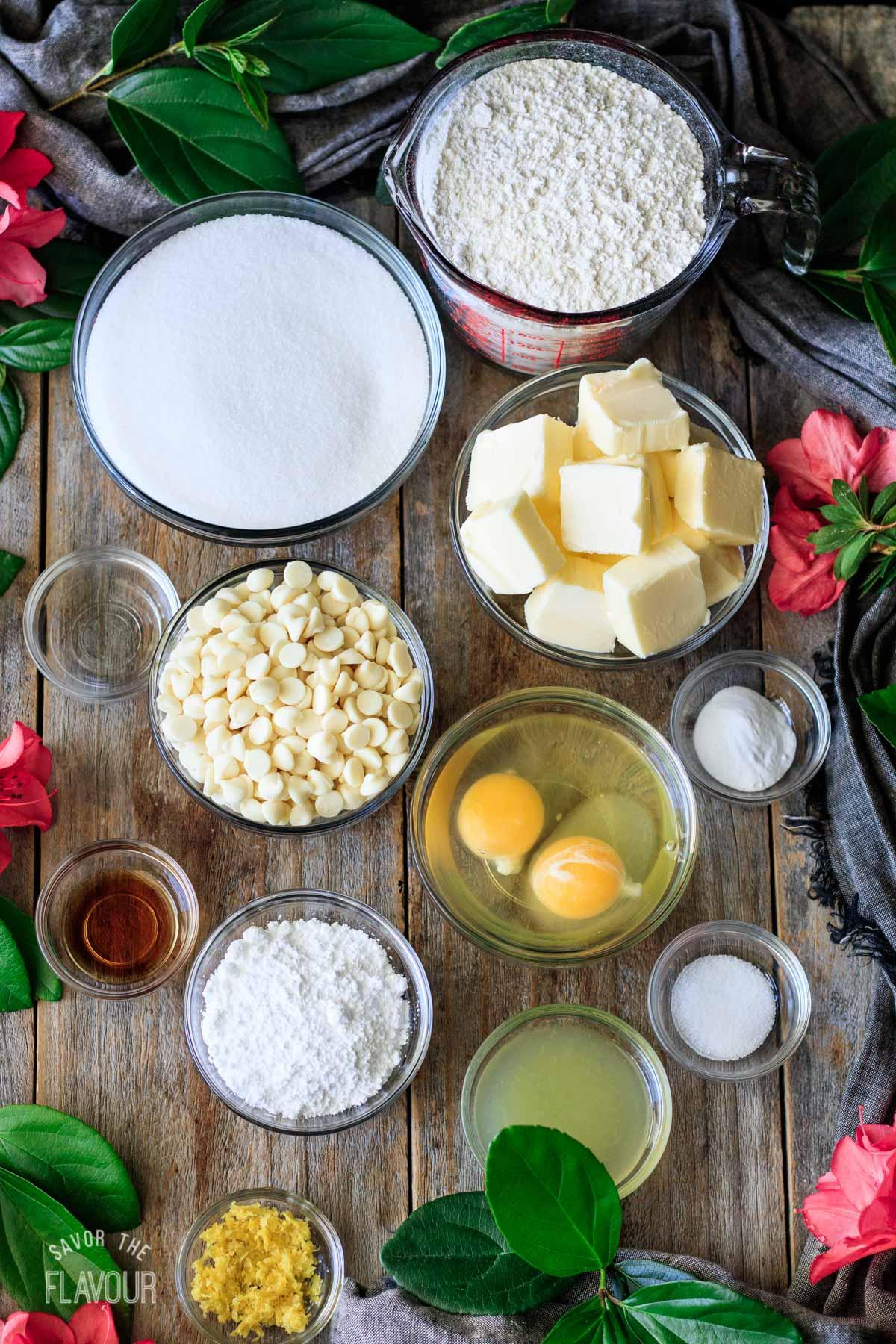 bowls of ingredients for lemon drop cookies