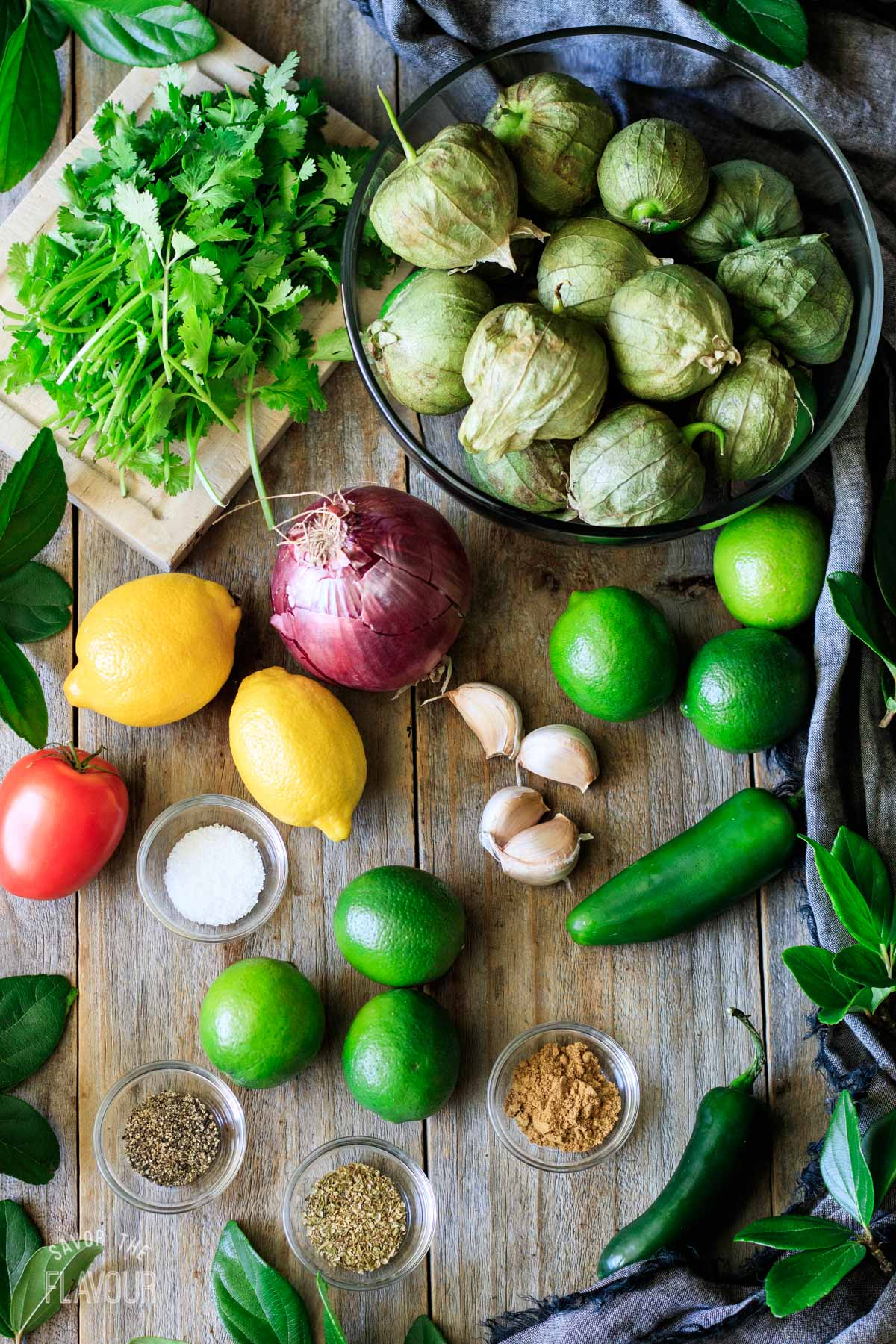 ingredients for Chipotle tomatillo green salsa