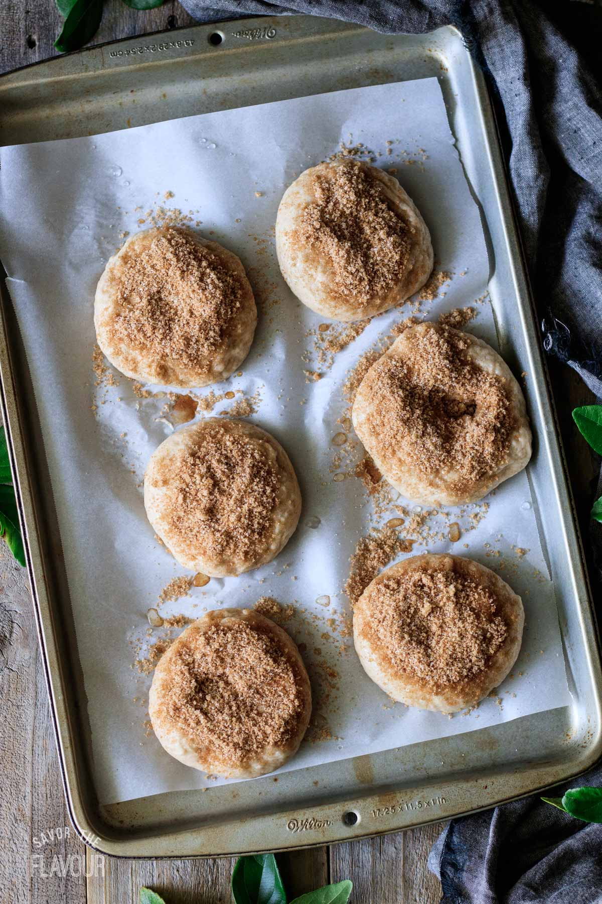 poached bagels sprinkled with the cinnamon topping