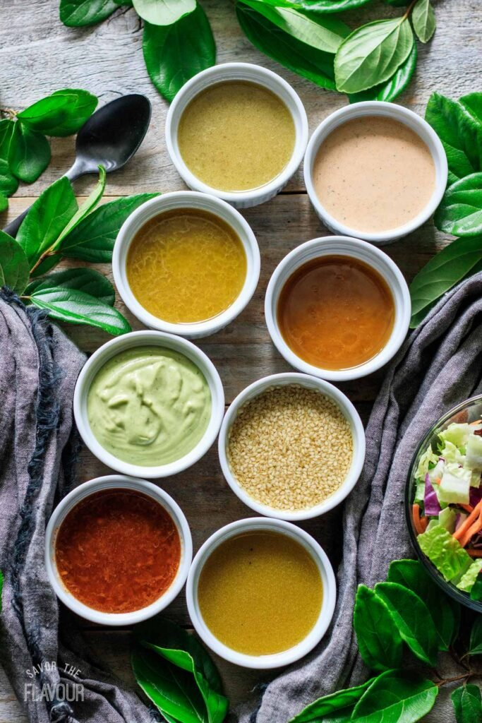 white bowls of copycat Chick-fil-A salad dressings in two rows