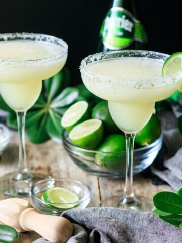 two glasses of frozen virgin lime margarita