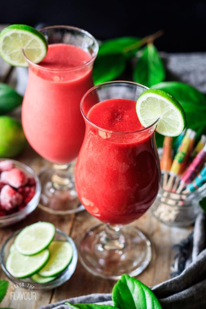 two glasses of virgin raspberry daiquiri