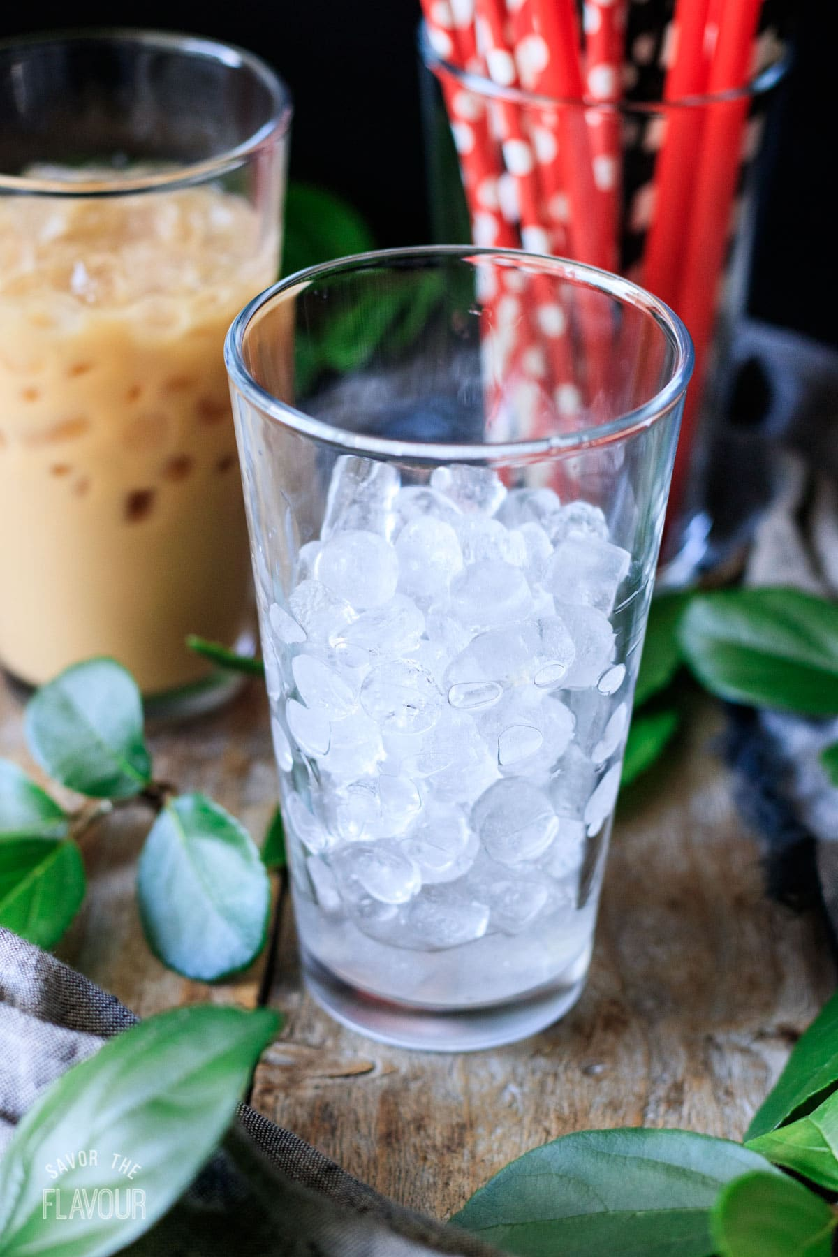 a glass filled with chewy ice
