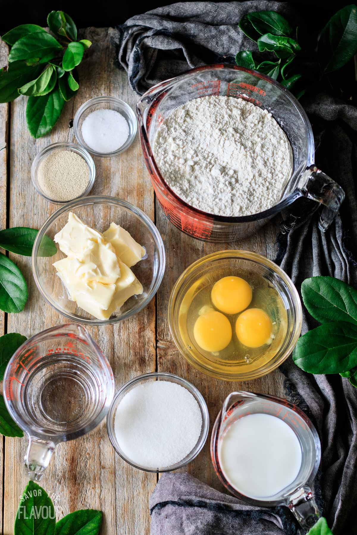 glass bowls of ingredients for the babka dough