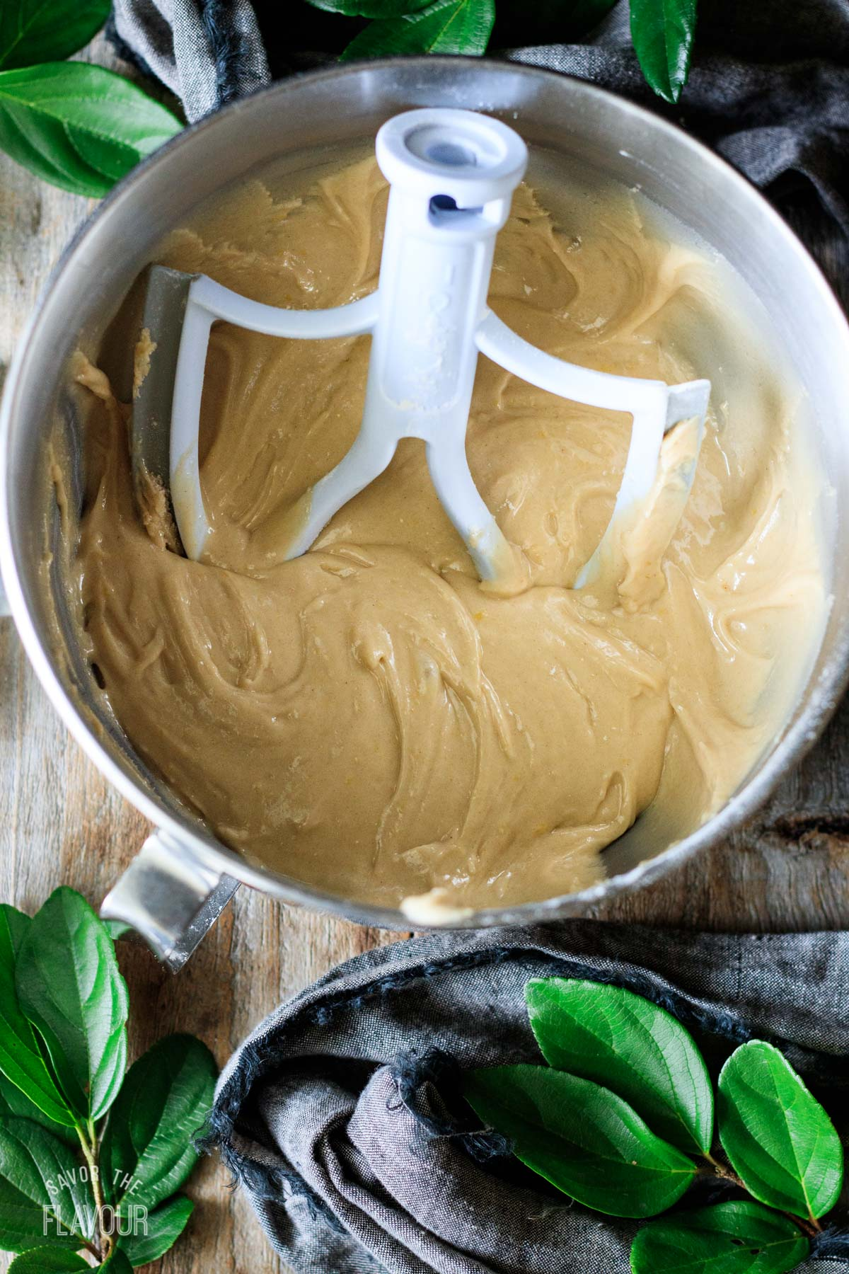 honey cookie dough in a mixing bowl