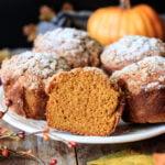closeup of half of a Panera pumpkin muffin on a white plate