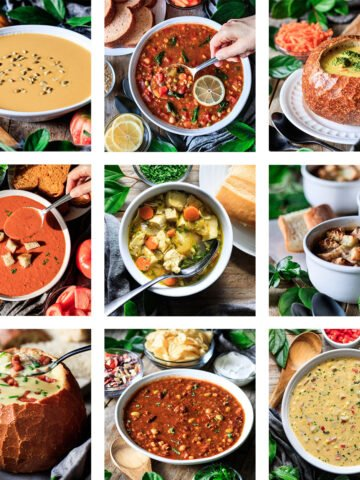 photo grid of nine Panera soups